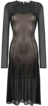 Murmur tulle A-line midi dress