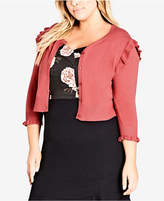 City Chic Trendy Plus Size Ruffled Cardigan