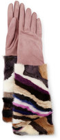 Gepa Gloves for Neiman Marcus Long Suede & Mink Gloves, Blush/Multicolor