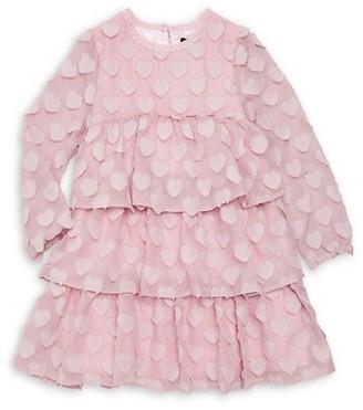 Imoga Little Girl's & Girl's Novelty Heart Tiered Chiffon A-Line Dress
