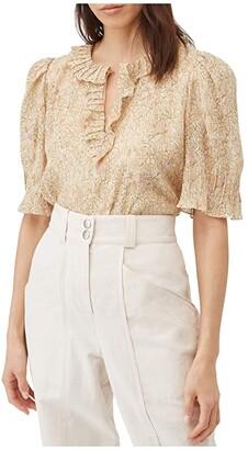 Rebecca Taylor Short Sleeve Soleil Floral Top (Soft Lemon Combo) Women's Clothing