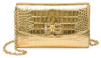 Dolce & Gabbana Micro Croc-Embossed Metallic Leather Wallet-On-Chain
