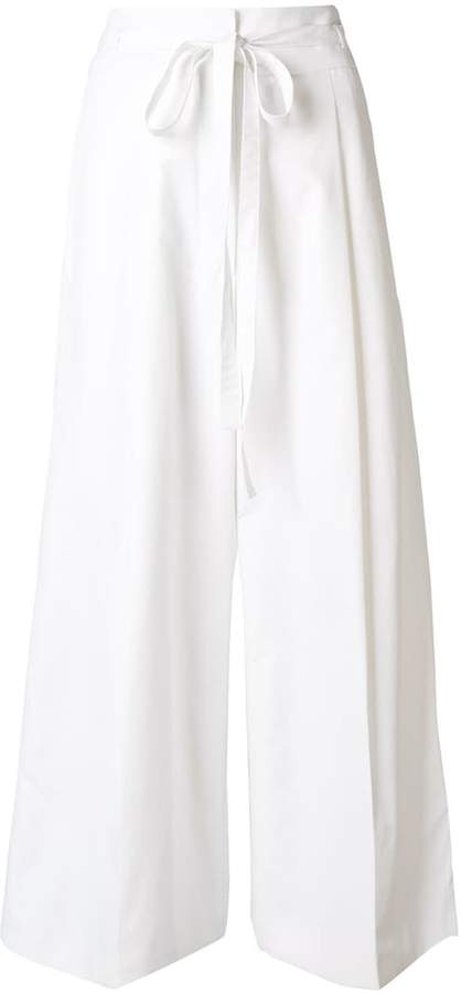 Rochas tie waist cropped palazzo trousers