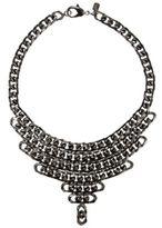 Fallon Gunmetal Biker Chain Bib Necklace