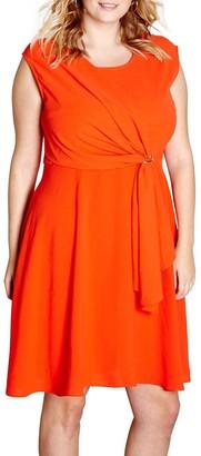 Yumi Curves Drape Eyelet Dress, Red
