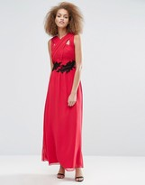 Little Mistress Applique Crossover Maxi Dress