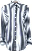 Michael Kors striped boyfriend fit shirt - women - Cotton/Polyamide/Spandex/Elastane - 0