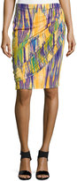 Natori Tboli Printed Draped Pencil Skirt