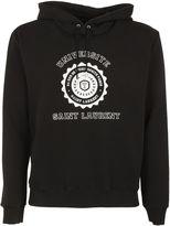 Saint Laurent Black/white University Seal Print Hoodie