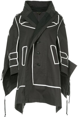 Comme Des Garçons Pre-Owned Contrast-Trim Draped Jacket