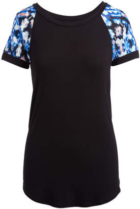 Cool Melon Women's Tee Shirts Black - Black & Blue Ikat Raglan Tee - Women