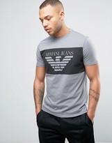 Armani Jeans Eagle Block Logo T-shirt Regular Fit In Grey