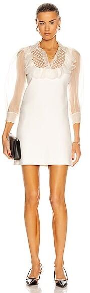 Miu Miu Sleeveless Mini Dress With Sheer Sleeves in Ivory