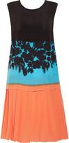 Prada Pleated printed washed-silk dress