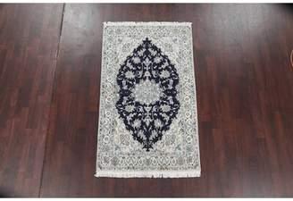 "Walton Astoria Grand One-of-a-Kind Nain Persian Hand-Knotted 3'11"" x 6'6"" Wool/Silk Gray/Black Area Rug Astoria Grand"