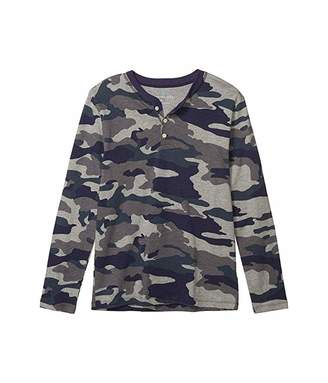 J.Crew Crewcuts By crewcuts by Long Sleeve Camo Henley (Toddler/Little Kids/Big Kids) (Heather Slate Multi) Boy's Clothing