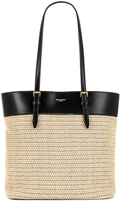 Saint Laurent Mini East West Shopping Tote in Natural & Black | FWRD
