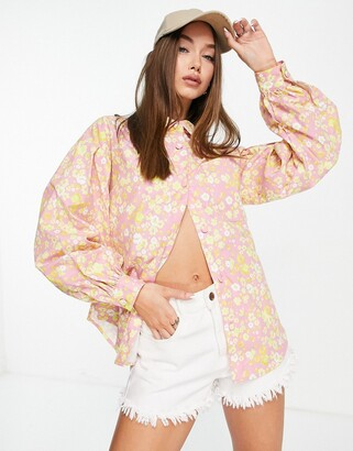 Lost Ink oversized shirt with balloon sleeves in retro floral print