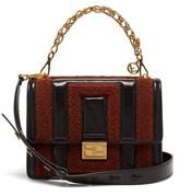 Fendi Kan U Medium Leather And Shearling Cross-body Bag - Womens - Black Brown