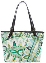 Emilio Pucci Printed Leather-Trimmed Tote