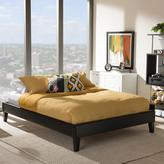 Baxton Studio Lancashire Mid-Century Black Faux Leather Upholstered Queen Size Bed Frame