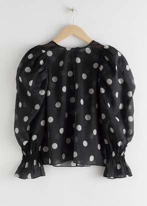 And other stories Sheer Puff Sleeve Polka Dot Blouse