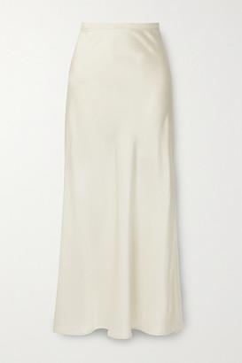 Anine Bing - Noel Grosgrain-trimmed Silk-satin Skirt - Ivory