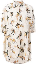 Agnona bird print short sleeve shirt