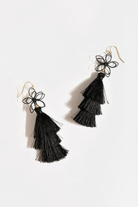 francesca's Katlyn Floral Tiered Tassel Earrings - Black