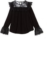Ella Moss Jacey Long Sleeve Knit & Lace Top (Big Girls)
