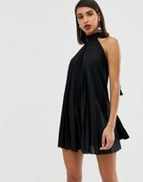 Asos Design DESIGN backless halter pleated mini dress