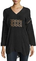 Johnny Was Tribal V-Neck Eyelet Tunic, Black, Plus Size