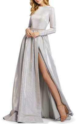 Mac Duggal Metallic Long-Sleeve A-Line Gown