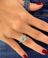 Swarovski Sevil 925 Women's Rings - Light Blue & Silvertone Round-Cut Halo Ring With Crystals