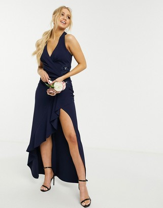 Lipsy Bridesmaid halterneck maxi dress with wrap front in navy