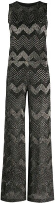 M Missoni Metallic Chevron-Pattern Jumpsuit