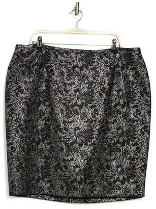 Calvin Klein Metallic Floral Jacquard Mini Skirt