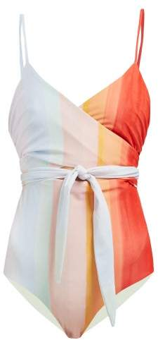 Mara Hoffman Isolde Striped Wrap Swimsuit - Womens - Multi Stripe