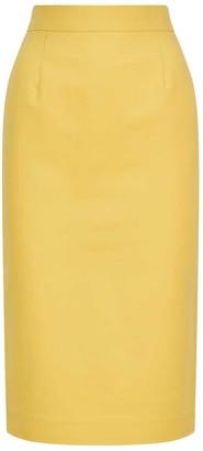 Femponiq High Waisted Pencil Cotton Skirt Sunshine Yellow