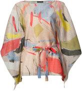Josie Natori printed belted blouse - women - Polyester - M