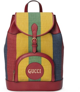 Gucci Baiadera stripe canvas backpack