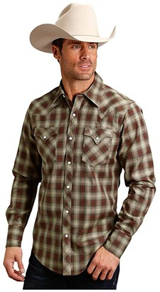 Stetson 1376 Olive-Ecru-Rustey Red Plaid (Brown) Men's Clothing