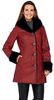 As Is Dennis Basso Faux Leather Coat w/ Faux Fur Lining & Trim
