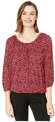 MICHAEL Michael Kors Petal Peasant Top (Black Multi) Women's T Shirt