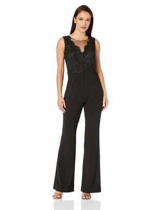 Adrianna Papell Women's Plus Size Sleeveless Lace Illusion Boat-Neck Bodice Jumpsuit