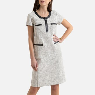 Anne Weyburn Tweed Shift Dress with Short Sleeves