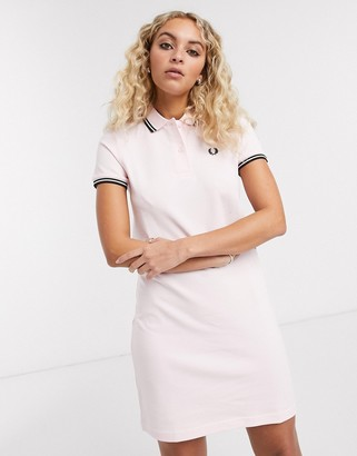 Fred Perry twin tipped polo dress in pink