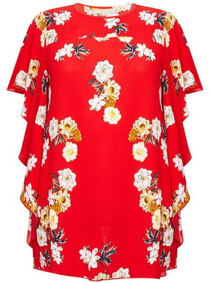 Yumi London Curve Floral Printed Waterfall Sleeve Blouse