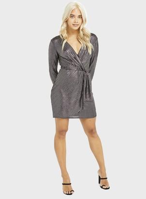 Miss Selfridge PETITE Gold Stripe Print Dress