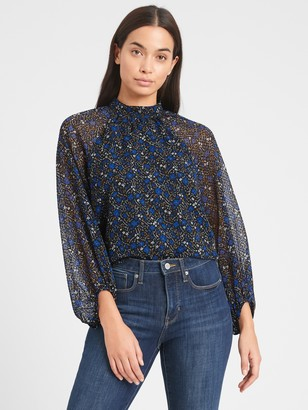 Banana Republic Petite Velvet Dot Billow-Sleeve Top